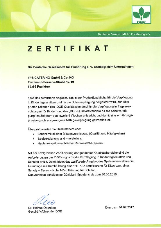 Fps Catering Frankfurt Am Main Dge Zertifikat